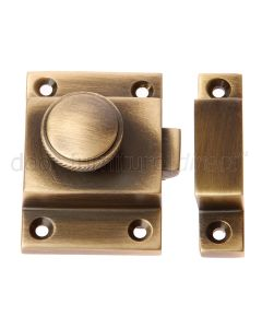 Antique Brass Decorative Knob Cupboard Catch 57x41mm