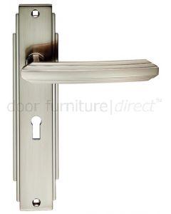 Satin Nickel Art Deco Lock Door Handles