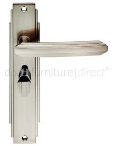 Satin Nickel Art Deco Bathroom Door Handles
