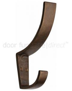 Solid Bronze Rustic Hat & Coat Hook 130mm