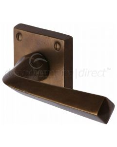 Solid Bronze Rustic Donnington Lever on Square Rose Door Handles