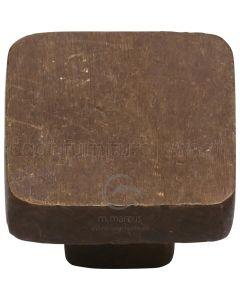 Solid Bronze Rustic Square Cabinet Knob