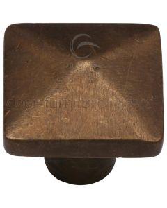 Solid Bronze Rustic Pyramid Cabinet Knob