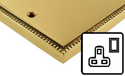 Image of Polished Brass Adam Style Electrical 13Amp Plug Socket