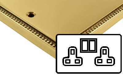 Image of Polished Brass Adam Style Electrical 13Amp Double Plug Socket