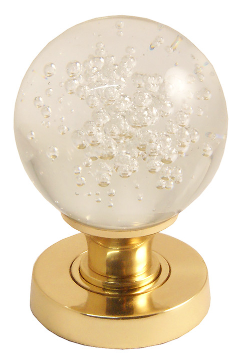 Image of Clear Glass Bubble Door Knobs 60mm