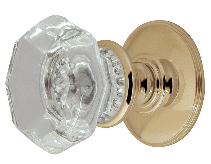 Image of Clear Glass Octagonal Door Knobs 54mm