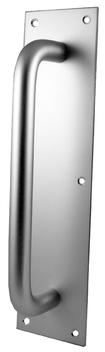 Image of Satin Anodised Door Pull Handle On Back Plate