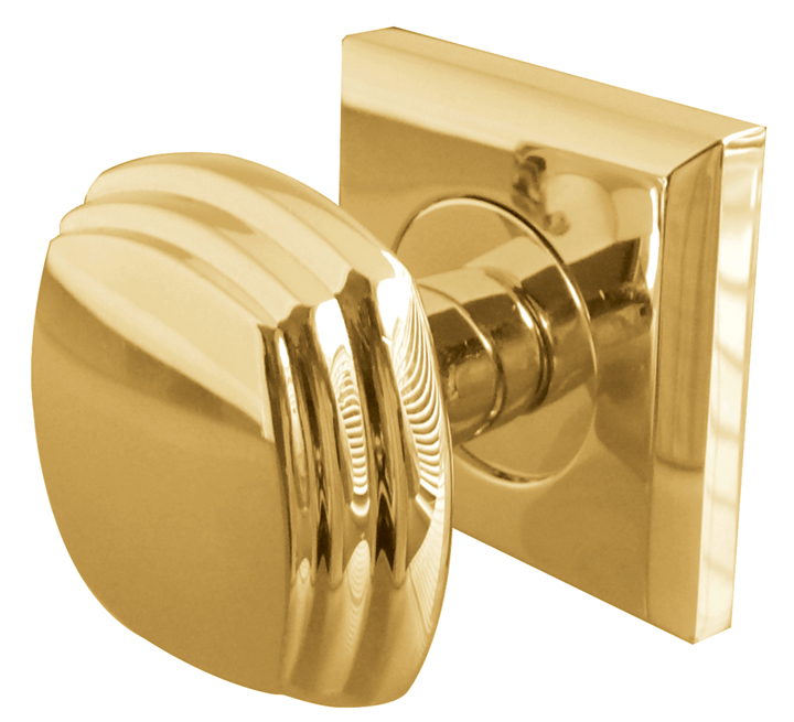 Image of Solid Brass Interior Door Knobs on Square Fixing Plate