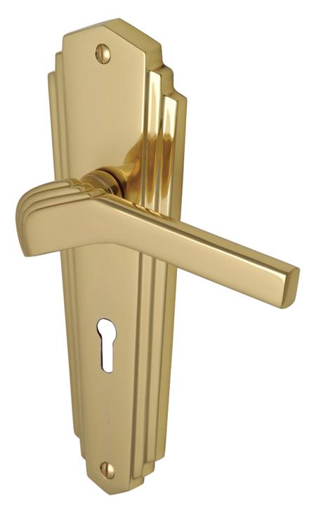 M Marcus Solid Brass Waldorf Lever Lock Door Handles