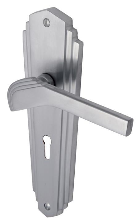 Heritage WAL6500 Waldorf Satin Chrome Lever Lock Door Furniture