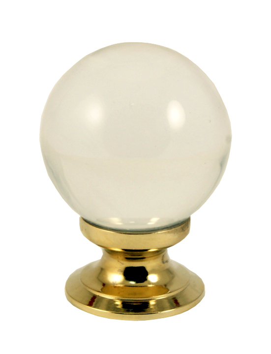 Image of Clear Glass Ball Style Cabinet Knob Brass