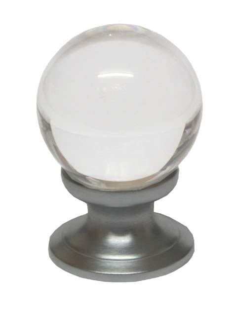 Image of Clear Glass Ball Style Cabinet Knob Matt Chrome