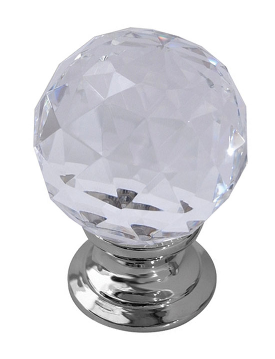 Image of Clear Glass Cut Style Cabinet Knob Polished Chrome