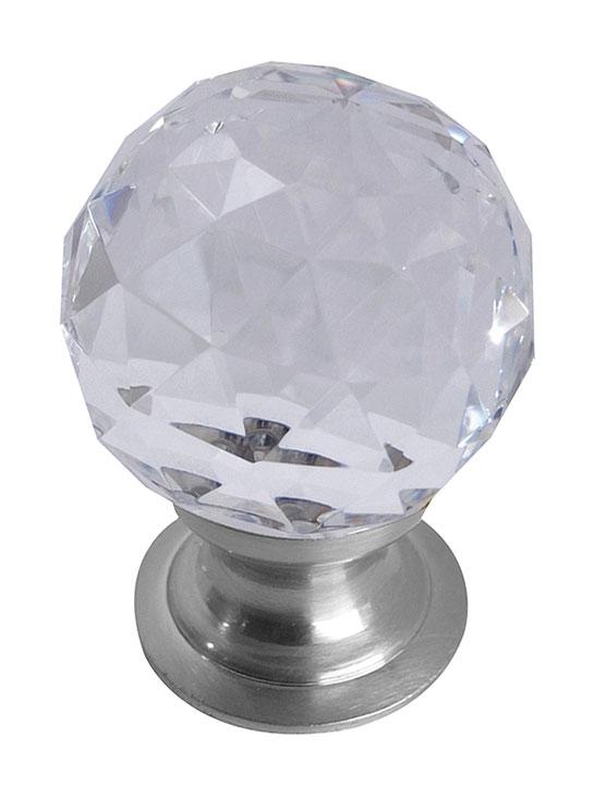 Image of Clear Glass Cut Style Cabinet Knob Matt Chrome
