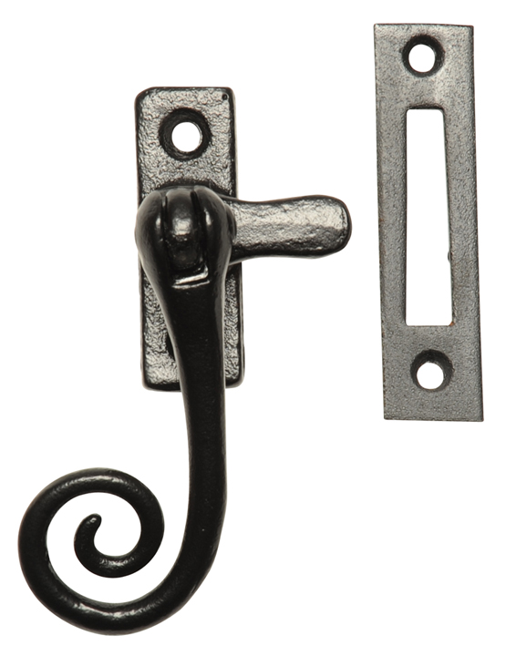 Image of Black Smooth Iron Window Handle Fastener 144MP