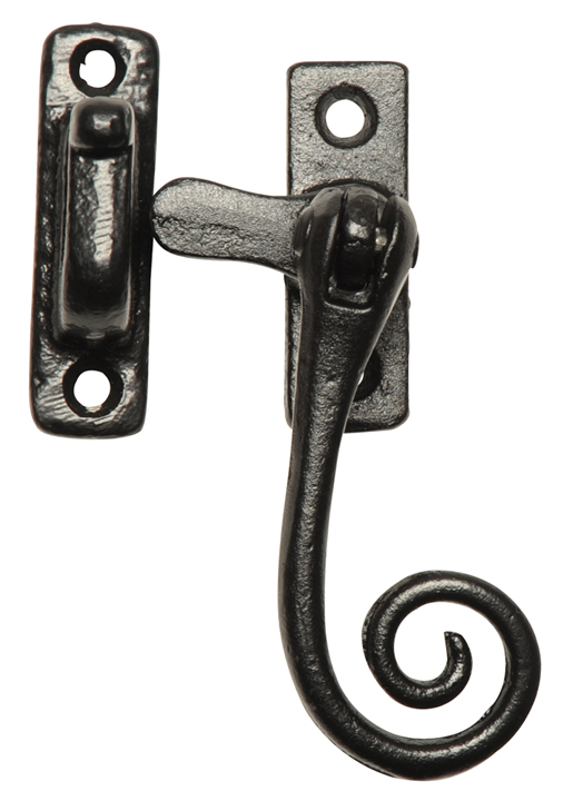 Image of Black Smooth Iron Window Handle Fastener 145HP