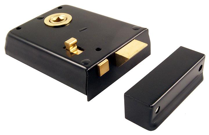 Image of Black Rim Door Latch With Slide Lock Action 4x3in