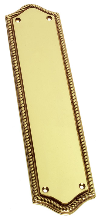 Image of Brass Rope Edge Style Georgian Shaped Door Push Plate