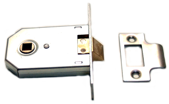 Image of Assa Abloy Square Cased Mortice Latch Chrome 2.5in (63.5mm)