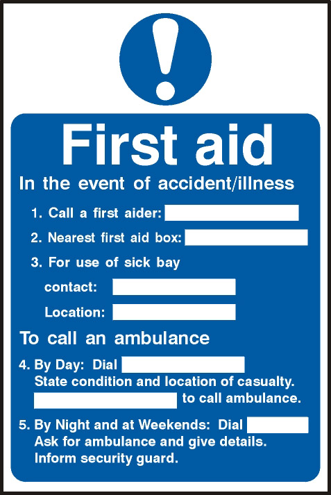 Image of Notice First Aid Procedure