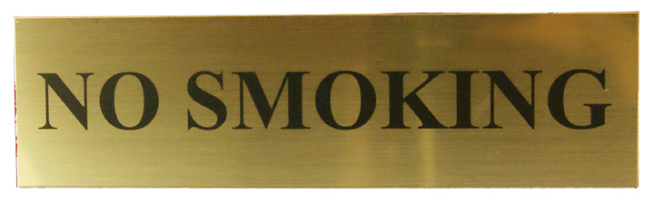Image of Matt Gold Effect No Smoking Notice 220x60mm