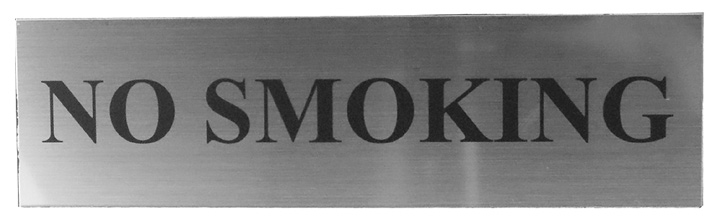 Image of Matt Silver Effect No Smoking Notice 220x60mm