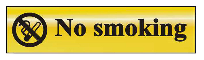 Image of Gold Effect No Smoking Notice 200x50mm