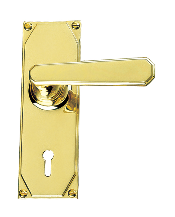 Art Deco Design Lever On Keyhole Plate Handle Set
