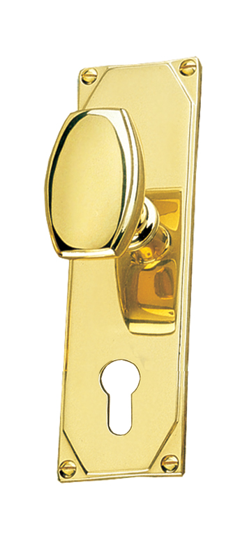 Art Deco Design Door Knob On EURO Plate Handle Set