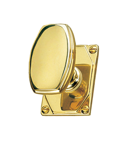 Art Deco Design Door Knob On Rose Handle Set
