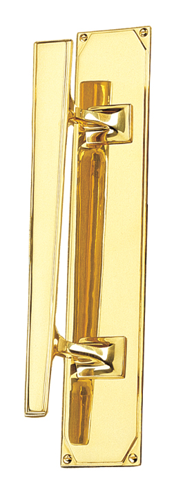 Art Deco Design Door Pull Handle On Plate Left Handed 356x63mm