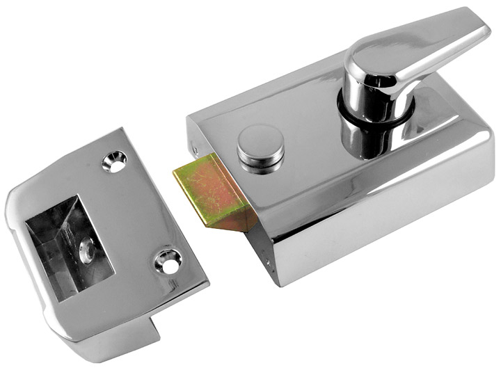 Image of M Marcus Chrome Security Nightlatch and Cylinder
