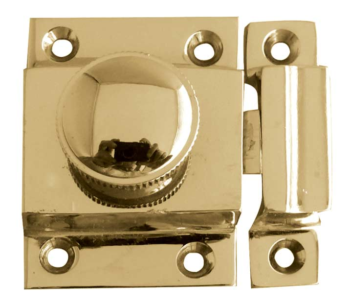 Image of Turn Button Door Catch Polished Brass 56x36mm