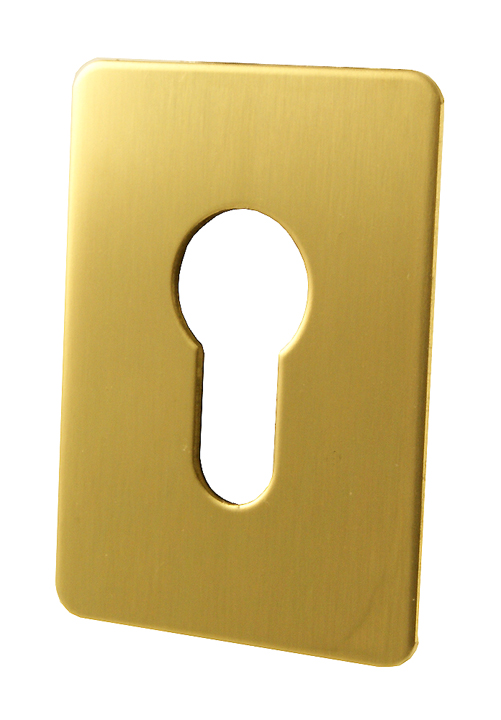 Image of Adhesive Backed EURO Keyhole Cover Brass