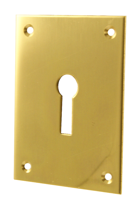 Image of Door Keyhole Cover Polished Brass 65.5x47.6mm