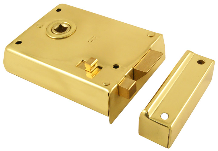 Image of Brass Rim Latch With Slide Action Latch