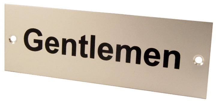 Image of Satin Anodised Plaque GENTLEMEN