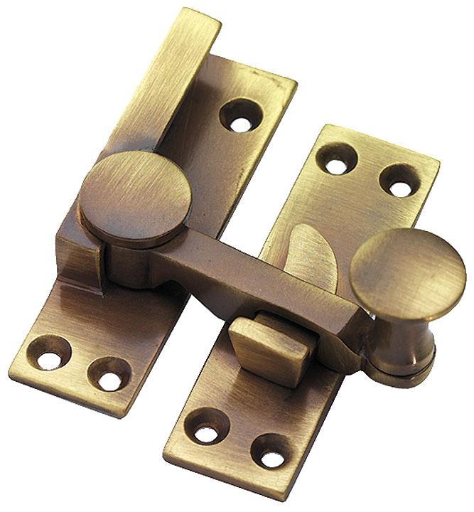 Image of Brass Antiqued Finish Quadrant Fastener 67mm
