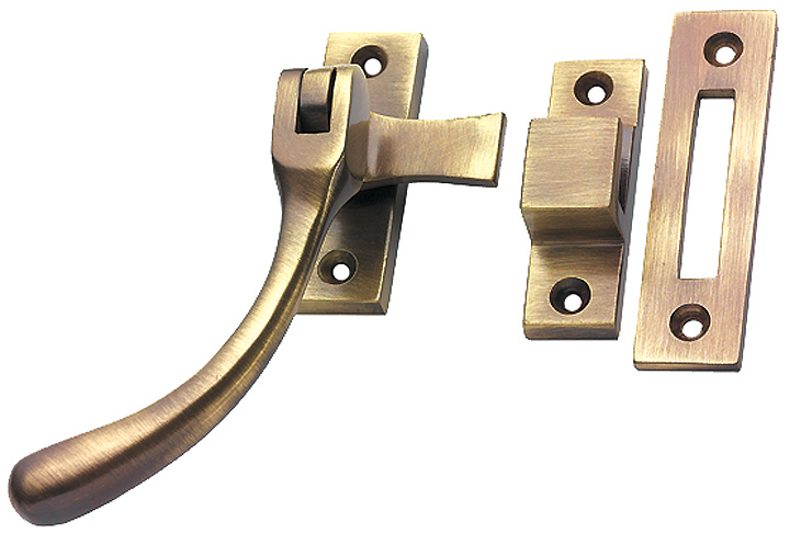 Image of Brass Antiqued Finish Pear Drop Window Handle Fastener