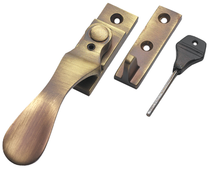 Image of Brass Antiqued Finish Spoon End Locking Window Handle Fastener