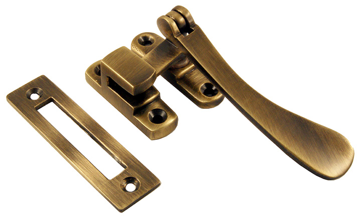 Image of Brass Antiqued Finish Spoon End Window Handle Fastener