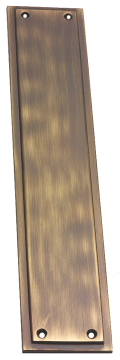 Image of Brass Antiqued Finish Tudor Push Plate 299x60mm