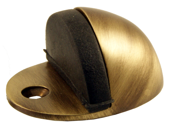 Image of Brass Antiqued Finish Hooded Door Stop 44mm