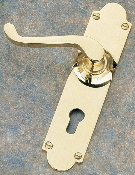 Brass Unlacquered Euro Profile Door Handle Set