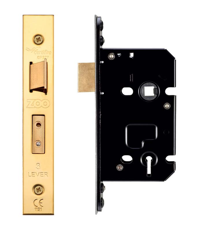 Home Security 3 Lever Mortice Sashlock Brass Face